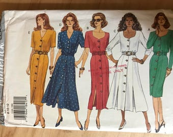 Butterick 3248 - 1990s Classics Button Front Dress with Blouson Bodice with Slim Fitting or Flared Skirt with Seam Slits - Size 8 10 12