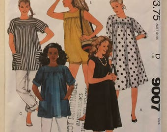 McCalls 9007 - Easy to Sew 1980s Maternity Yoked Dress or Top, Shorts, and Pants - Size Large Bust 40 42