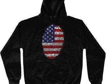 Fun Printed Novelty American USA  United States Flag Fingerprint Hoodie Top Jumper Sweatshirt