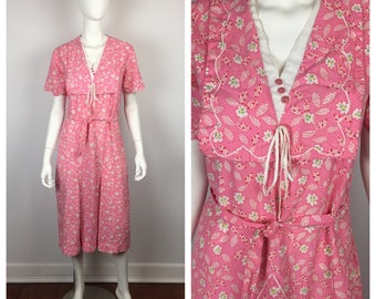 Vintage 1930s Dress / 30s Pink Deco Floral Day Dress / Medium