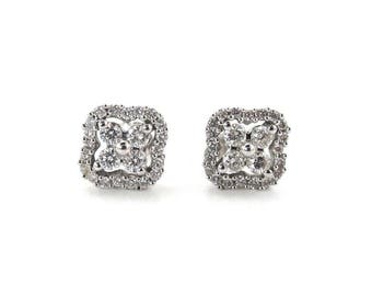 14k White Gold Diamond Stud Earrings  0.75 carat - Excellent Quality Genuine Diamonds