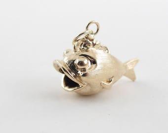 Vintage 14k Yellow Gold Blowfish Charm - 14k yellow gold Fish Pendant