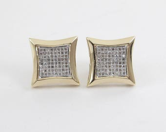 14K Yellow Gold Men's Diamond Stud Earrings - 14k Yellow Gold Women's Diamond kite Earrings 1.00 carat