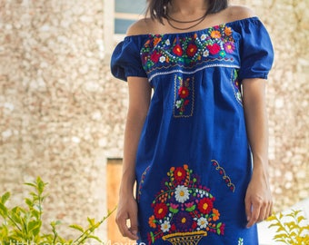 Mexican off the shoulder mini dress hand embroidered - Blue 100% cotton (manta)
