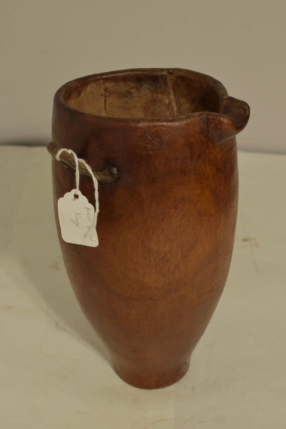 African Wood Pokot Old Milk Water Pitcher Kenya Handmade Wood  Serving  Drinking Ceremonial Milk Pitcher