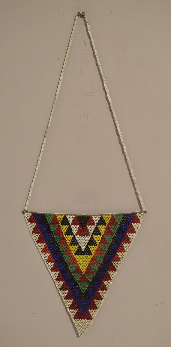 African Zulu Large Beaded Triangle Pendant Necklace Unmarried Woman Beaded Necklace