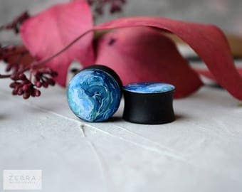 Pair plugs Painted sea image wooden ear tunnels ,4,5,6,8,10,12,14,16,19,25-60mm;6g,4g,2g,0g,00g;1/4,5/16,3/8,1/2,9/16,5/8,3/4,7/8,1 1/4""