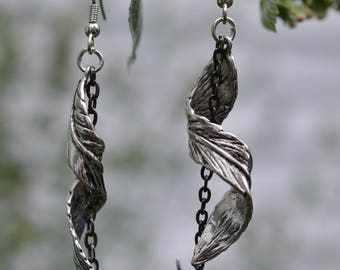 Silver Swallow Feather Earrings