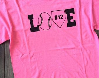 Personalized Baseball Mom Shirt, Pink baseball shirt, Love baseball shirt,