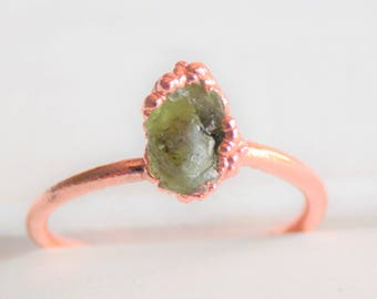 Raw peridot ring - raw crystal ring - copper crystal ring - stacking ring - boho ring - gifts for her - august birthstone ring