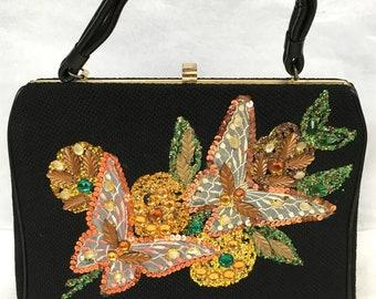 Vintage 1960's 'Caron of Houston' Tweed Handbag with Tapestry Detail