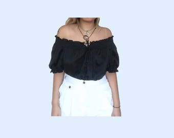 off the shoulder ruched black top // vintage // size large