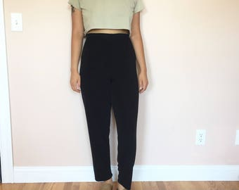 black slinky high waisted trouser pants // vintage 90s 80s // size medium