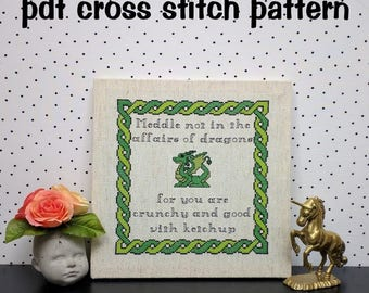 Cute Dragon Cross Stitch Pattern, Funny Quote Embroidery, Green Braided Border - PDF, Instant Download