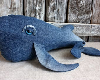 Stuffed cushionBlue whale. Stuffed whale. Decorative pillow blue whale