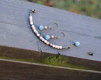 Faceted Pink Moonstone & Dyed Teal Jade Antique Brass Gemstone Bracelet