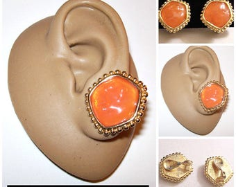 Monet Orange Candy Clip On Earrings Gold Tone Vintage Round Nail Head Edge Abstract Round Shape Clear Lucite Comfort Paddles Lined Backs