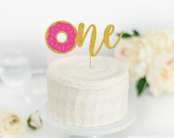 Donut One Cake Topper - Donut Party Decor - Donut First Birthday Party - Happy Birthday - Donut Party Supplies - Donut Party Decorations