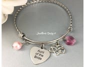Aunt of the Bride Gift Bangle Bracelet Wedding Jewelry Aunt Gift Idea Aunt Charm Bracelet Jewelry on Sale