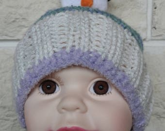 Hand Knitted Small Child's Multicoloured Winter Hat With A Snowman - Free Shipping