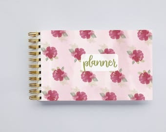 WIDE Undated Inspirational Planner - One Year Fill in Calendar Notebook - Floral Pink Weekly Planbook - Monthly Weekly Schedule