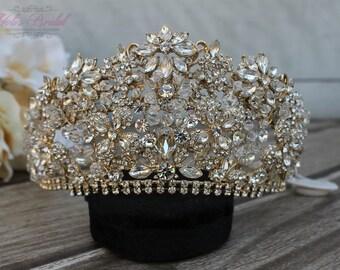 FAST Shipping!!! Swarovski Gold Tiara,  Cristal Gold Tiara, Wedding Tiara, Crown, Princess Tiara, Quinceañera, Cristal Headpiece, Sweet 16