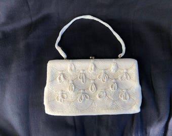 Vintage WalBorg Beaded Purse Off-White Handbag Handmade Japan Strap Purse Beautiful Hanging Beadwork Brides Collectible Clutch Evening Bag