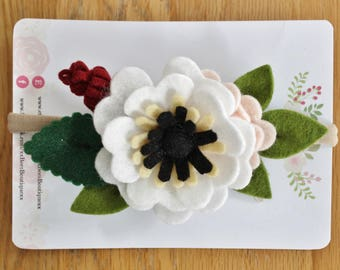 Beautiful White Felt Anemone Headband, Flower Crown, Baby Gift, Flower Girl, Wedding Hair Accessories