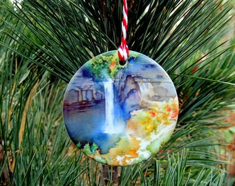 Christmas Ornament, Holiday, Ithaca NY, Stocking Stuffer, Ceramic, Gifts Under 25, Housewarming Gift, Watercolor by Cheryl Chalmers