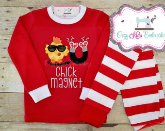 Valentine's Day pajamas, Boy's Valentine Pajama, Valentine's Day Pj, Chick Magnet applique, Chick Magnet Embroidery