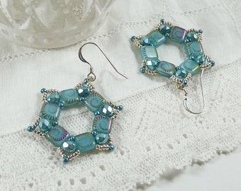 Hexagon Earrings, Sea Shell Earrings, Seaside Gift, Ocean Jewelry, Fossil Pattern, Geometric, Silver, Aqua, Sparkly, Pale Blue Bead Earrings