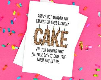 Divertido novio o novia cumpleaños tarjeta - WTF - interior blanco - Reino Unido envío gratis