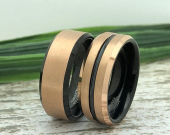 8mm His & Hers Tungsten Rings, Rose Gold Plated Tungsten Wedding Ring, Comfort Fit, Personalized Custom Engrave Rings, Couples Ring Set