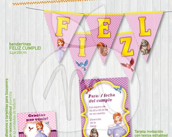 Printable and editable texts Kit with Sofia The First and friends for your party!