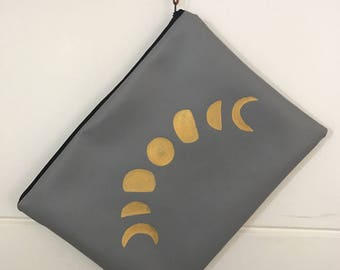 PU leather Moon Phase Clutch Bag