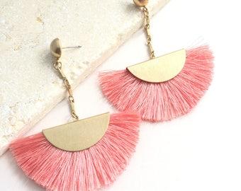 Tassel Chandeliers,Fan Earrings,Pink Fan Earrings,Gold Pink Fan Earrings,Tassel Fringe Earrings,Drop Earrings,Boho Earrings,Hipster Earrings