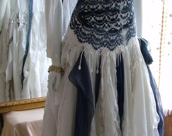 Size 2 - 8 Navy blue and white tie dye hippy hippie beach bohemian outdoor alternate tattered shabby chic wedding dress