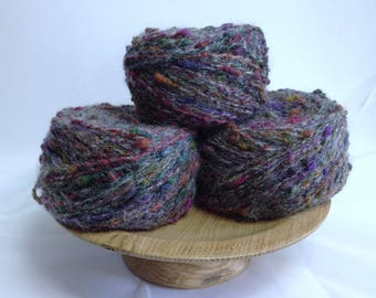 Unique Yarn, MultiColored Yarn Cakes Bundle, 3 Large Yarn Cakes for Fiber Art Projects, Knitting, Crocheting or Embellishment & Crafting