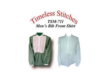 Mens Bib Front Shirt/ 19th Century  Civilian  Mens Shirt Pattern  Timeless Stitches Sewing Pattern TSM-711