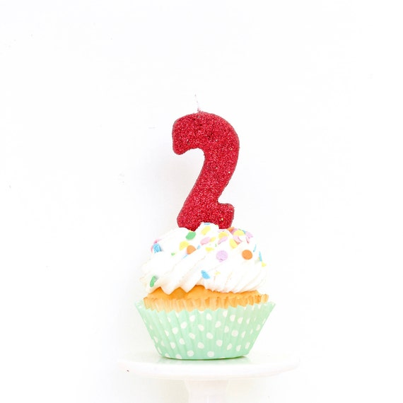 "3"" Number 2 Candle, Giant 2 Candle, Red Candle, Red Party, Glitter Birthday, 2nd Birthday Candle, Gold Birthday Candle, Pink"