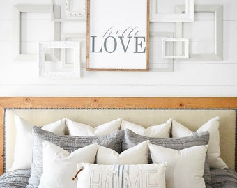 20x30 hello love wood signover the bed signhome decorfarmhouse - Wood Sign Design Ideas