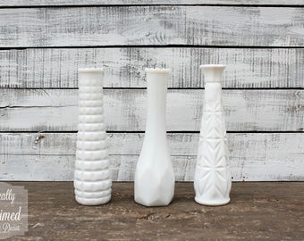 Vintage Milk Glass Vases - Set of 3 - Assorted Textures and Styles - Home and Wedding Decor