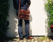 Briefcase, Convertible Leather Messenger, Unisex Briefcase, Leather Work Bag, Messenger, Backpack, Leather Rucksack, Leather Laptop Bag