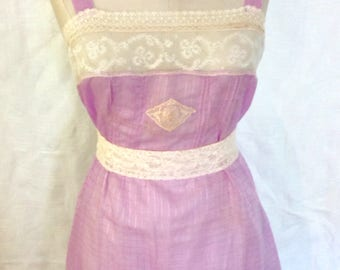 1920's 20s / Vintage Lavender & Lace Teddy / Step In / Flapper / Plus Size