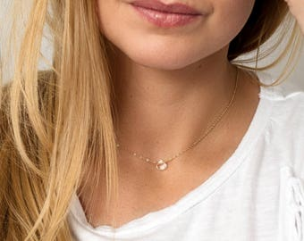 Clear Gemstone Necklace - White Topaz Tiny Drop Necklace - Simple Crystal Necklace