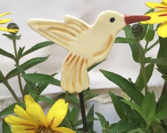 Yellow Hummingbird Garden Stake