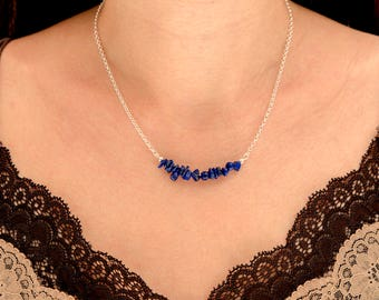 Lapis Lazuli Chip Bead Necklace on Sterling Silver - September Libra Birthstone Necklace -  September Birthstone Jewelry Jewellery  - A73
