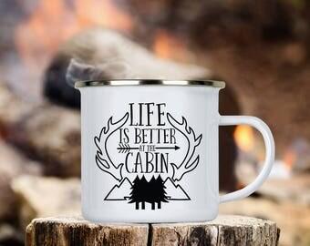 Life is Better at the Cabin Camp Cup - Enamel Camp Mug - Dishwasher Safe