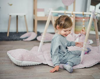 GYM, TOYS & MAT - wooden play gym, play mat + teething toys - baby gym set - gym with hangers and mat, baby gym toys