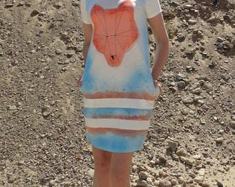 Plus Size Dress, Bear Dress, Light Blue White Dress, Little Summer Dress, Boho Beach Dress, Sun Dress, Woodland Clothing, Tie Dye Dress